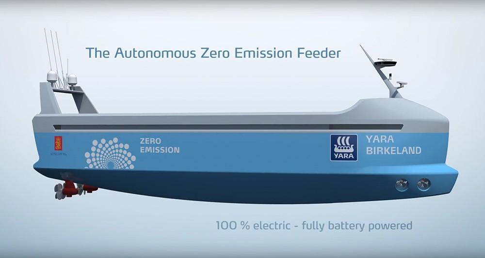 Yara Birkeland : un navire cargo électrique et autonome en Norvège en 2018