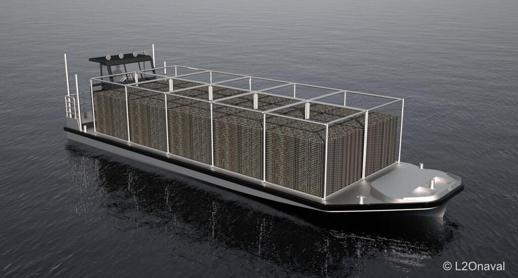 L2Onaval travaille sur une barge ostréicole électrique